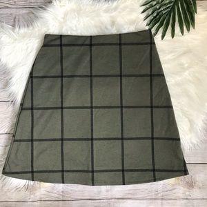 Stitchfix Renee C. Olive Green Windowpane Skirt